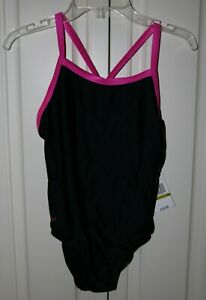 Youth Girl's One Piece Black and Hot Pink Speedo Swimsuit - Size 14 - NWT