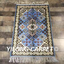 Yilong 2'x3' Blue Handmade Medallion Silk Carpet Traditional Handcraft Rug W256C