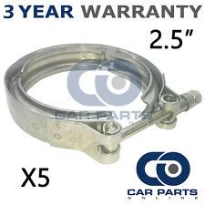 """5x V-BAND Esterno Morsetti in acciaio inox tubo di scarico Turbo 2.5"""" 63.5mm"""