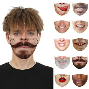 3D Printed Funny Face Mask Breathable Washable Mouth Protection Reusable
