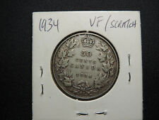 1934 50 Cent Coin Canada King George V .800 Silver VF Condition Scratch Error