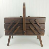 Vintage Wooden Sewing Box FOLD OUT DOVETAILED ACCORDION CABINET Romania Flaws