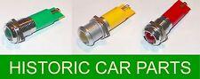 RED AMBER GREEN LED Dash Warning lights 12v & 24v 15mm dia x 50mm lg