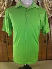 Mens Peter Millar Northwest L Large Kiwi Green Golfing Polo 100% Cotton Vguc