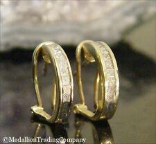 14k Yellow Gold .64 Carat Princess Diamond Omega French Back Half Hoop Earrings