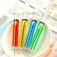 4pcs Syringe Injection Shape Ballpen Doctor Nurse Gift Liquid Pen Ballpoint J³