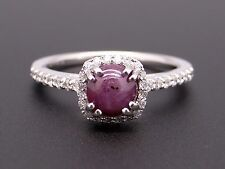 14k White Gold 1.82ct Cabochon Ruby Diamond Engagement Halo Ring True Romance
