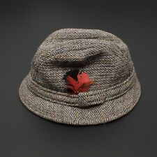 VTG Harris Tweed Mens Bucket Hat 7 1/4 Gray Blue Brown Herringbone Scottish Wool