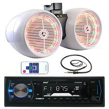 "Pyle USB Bluetooth Marine Radio,White LED 6.5"" Tower Wake Board Speakers,Antenna"