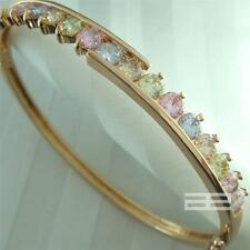 9K 9CT Rose Gold Filled with Multicolor Crystal Very Elegant Can Open Bangle G60