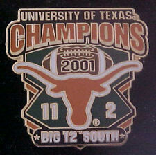 TEXAS LONGHORNS 2001 BIG 12 SOUTH CHAMPIONS WILLABEE & WARD COMM SERIES PIN