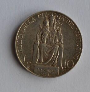 1931 Vatican 10 Lire Silver Coin