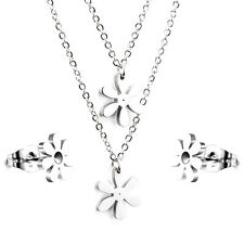 Stainless Steel fashion Jewelry Set, Silvertone Floral Necklace & Stud Earrings