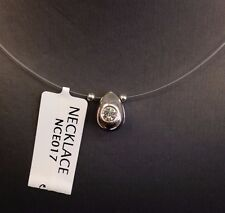 New Sterling Silver Round Cut Clear Cubic Zirconia Fish Wire Necklace Chain