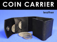 LEATHER COIN HOLDER WALLET Holds 16 Magic Trick Coins Money Pocket Carrier Purse