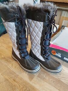 Alpine BRUNDALL faux fur lined snow boots UK4 brown...