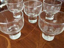 FIVE COLLECTABLE KIKU-MASAMUNE DRINKING GLASSES . HEAVY BASE . SIGNED . JAPAN