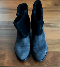Costume National Suede Leather Black & Gray Fold Over Ankle boots
