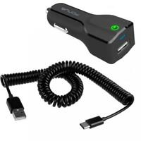 24W FAST USB CAR DC QUICK CHARGER ADAPTER COILED TYPE-C USB-C CABLE WIRE CORD