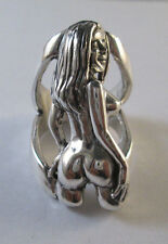 STERLING SILVER BEAUTIFUL  NUDE  POSING GIRL  RING SIZE 12