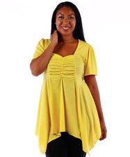 NEW! WOMEN'S PLUS SIZE CLOTHING YELLOW BABYDOLL STYLE BLOUSE 5X