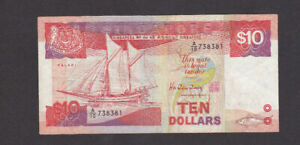 10 DOLLARS VF-FINE BANKNOTE FROM SINGAPORE 1988 PICK-20