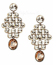 NEW GIVENCHY Silk & Rose Crystal Brown Gold-Tone Chandelier Earrings $75