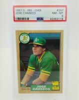1987 O Pee Chee JOSE CANSECO PSA 8 Gold Cup Rookie Card RC 247 Oakland A's NM-MT