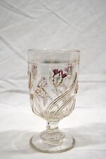 Glass German on Stand Art Nouveau Flowers Tulips Gols and Pink Embossed