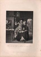 1850 Estampado ~ Metzu y Sus Esposa ~ G. Metzu