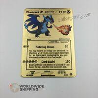 Carte Pokemon Gold Dracaufeu Shiny / Charizard Metal Card Fan Made / GX / EX /