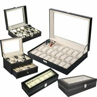 6/10/12/20/24 Slots PU Leather Watch Display Case Jewelry Storage Organize Box