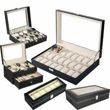 6/10/12/20/24 Slots PU Leather Watch Display Case Jewelry Storage Organize Box