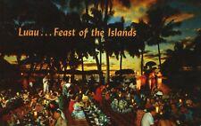 Luau Feast Of The Islands Queen's Surf Waikiki Hawaii HI Hawaiian Postcard D10c