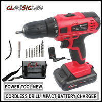 "20V 3/8"" Chuck LED Cordless Drill Electric Power Drill Kit Driver Li-Ion Battery"