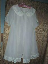 Vtg. Shadowline Nightgown Robe Peignoir Set Chiffon Lace Bridal Vintage Size M
