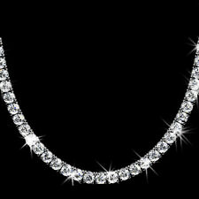 Cubic zirconia rhodium tennis fashion necklaces pendants ebay 20ct brilliant round non graduated signity cz cubic zirconia tennis necklace 16 aloadofball Gallery