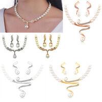 Women's New Wedding Bridal Pearl Jewelry Set Rhinestone Crystal Necklace Earring