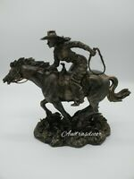 Western Cowgirl Rodeo  Bronze Finish  Sculpture Statue  Hand Painted New
