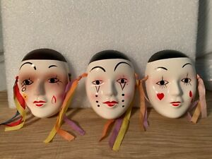 Vintage 1980s Mask Clay Ceramic Porcelain Mime Clown Wall Hanging Mardi Gras A-2