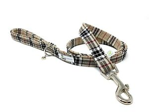 Dog Lead, Standard Leash, Classic Beige Tartan - Dog Lead - ** Padded Handle **