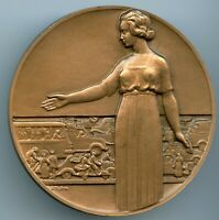 ART DECO DRIVING PROTECTIONS BRONZE MEDAL BY PIERRE TURIN 1970, 72MM 187G