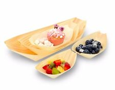 50 x Wood Bamboo Serving Boat/Bowl Disposable Eco Natural Catering Snack Party