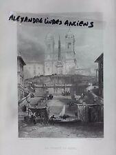 GRAVURE 1860 ITALIE ROME LA TRINITÉ DES MONTS