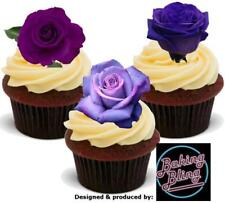 12 Novelty Lavender Purple Rose Trio Mix Edible Cake Cupcake Toppers Decorations