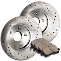A0805 FIT 2003 2004 2005 Mazda 6 FRONT Cross Drilled Brake Rotors Ceramic Pads