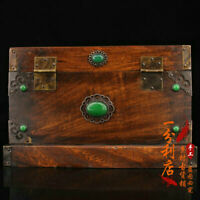 Exquisite Chinese old antique handcarved huanghuali wood flower Storage box