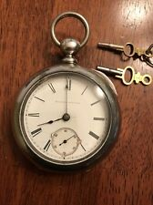 1883 ILLINOIS WATCH Co. Springfield 18s Key Wind Pocket Watch Newport Coin Case