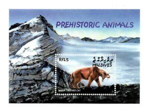 MODERN GEMS - Maldives - Prehistoric Animals Saber Toothed Cat - S/S - MNH