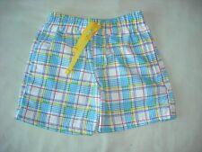 Primark baby boys blue yellow check swim shorts trunks 9-12 months